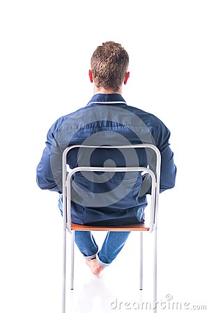 Free Back Of Young Man Sitting On Chair, Isolated Royalty Free Stock Photography - 57121347