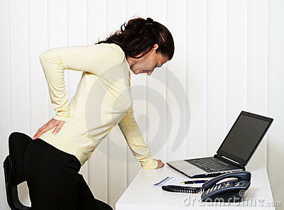 Back pain of the intervertebral disc in office
