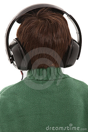 Back Side Child with HEadphones
