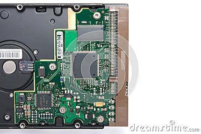 Back side harddisk isolated on white