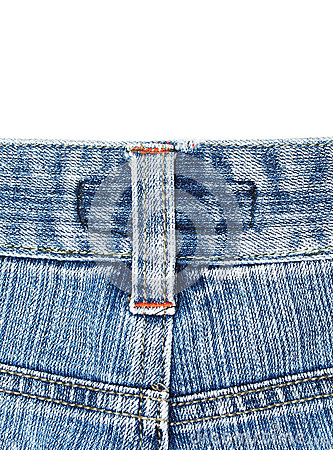 Back side of old blue jean
