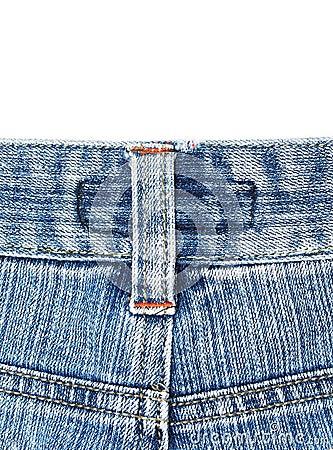 Back side of old blue jean