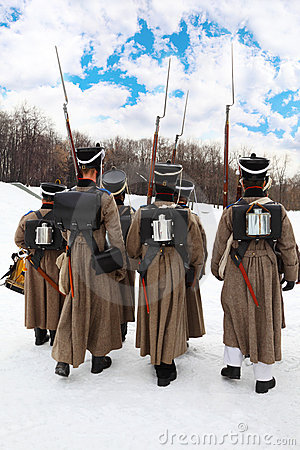 Back of soldiers at historical reconstruction Editorial Photo