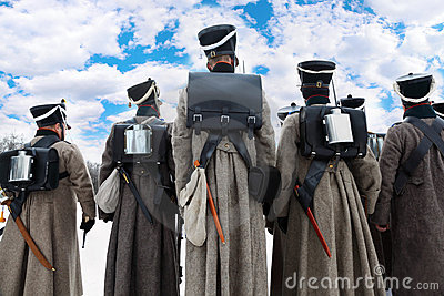 Back of soldiers at historical reconstruction Editorial Stock Image