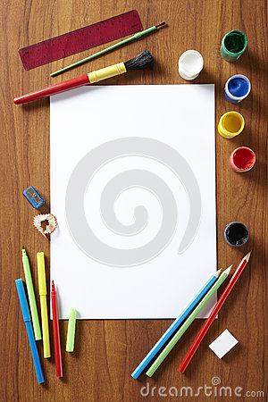 Free Back To School Art Pad Paints Pencils And Pens Stock Photos - 25970033