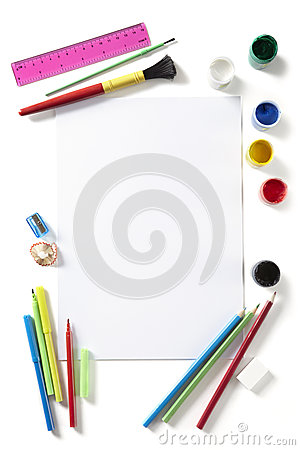 Back to School art pad paints pencils and pens