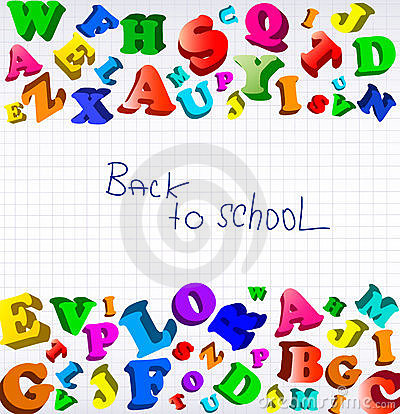 Back to school. Background with color alphabet.