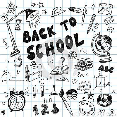 Back to school - big doodles set