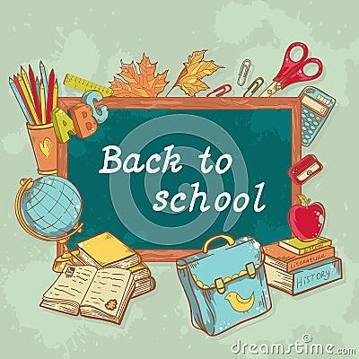 Back to school board card in cartoon hand drawn st