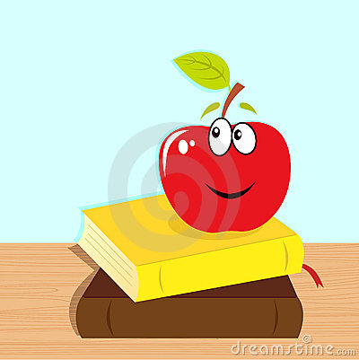 Back to school: books and red smiling apple