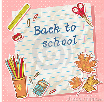 Back to school card on paper sheet with study item