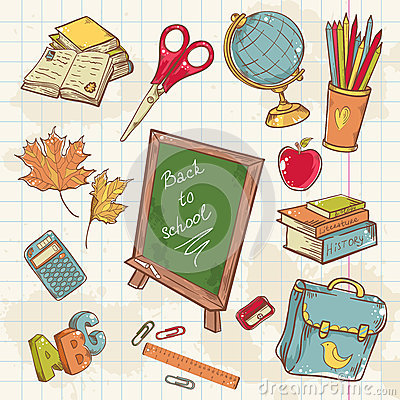Back to school collection with various study items