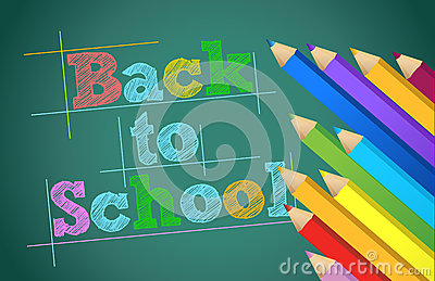 Back to school with colors pencils over chalkboard