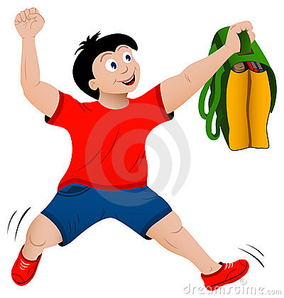Back to school concept jumping happy boy with bag