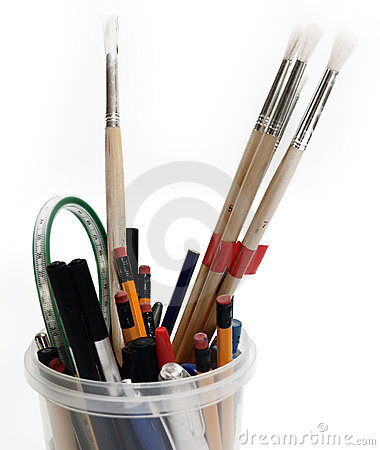 Back to school concept of pens and pencils
