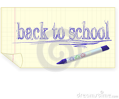 Back to school, crayon drawing
