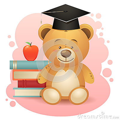 Back to school cute teddy bear toy illustration