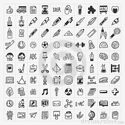 100 Back to School doodle hand-draw icon set