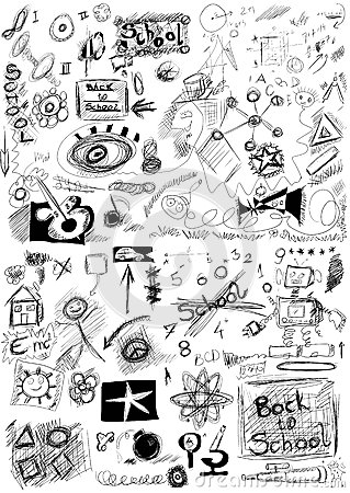 Back to school, doodle school symbols isolated