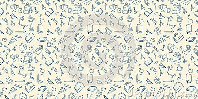 Back to school doodle seamless pattern drawing background lineart design vector illustration Vector Illustration
