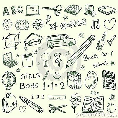 Back to school doodles set