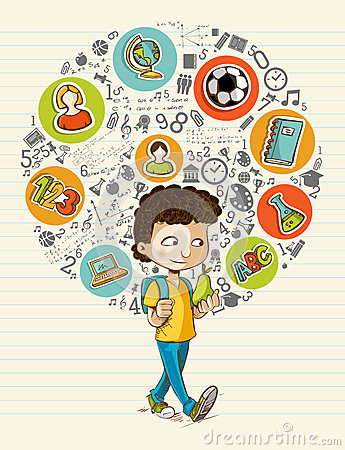 Free Back To School Education Icons Colorful Cartoon Bo Royalty Free Stock Photography - 32998737
