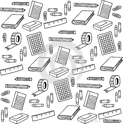 Free Back To School Elements Pattern Doodle Illustration Royalty Free Stock Images - 57260559