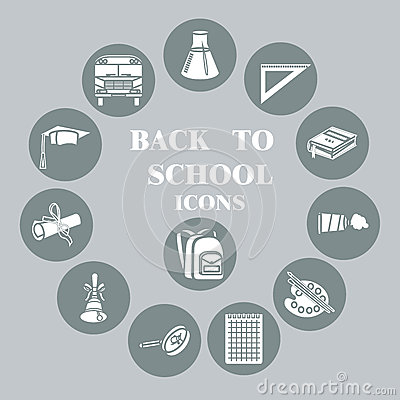 Back to school flat icons set, Grey circle