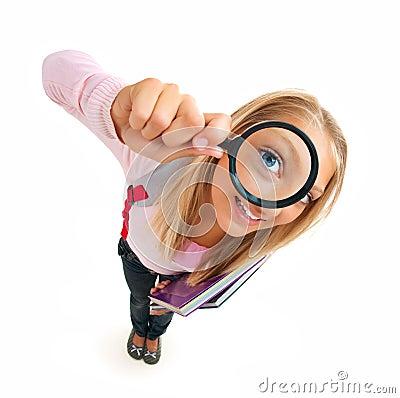Back To School. Funny Schoolgirl