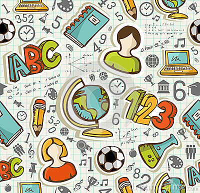 Free Back To School Icons Education Seamless Pattern. Stock Photos - 32998593