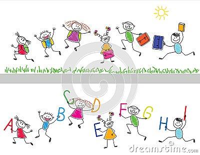 Back to school. Joyful children run i