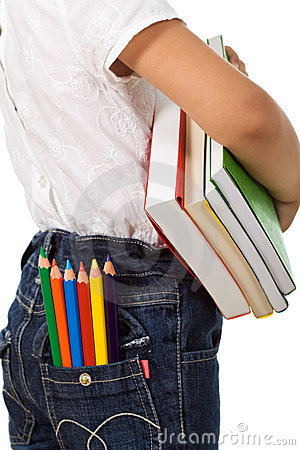 Back to school - kid with  books and pencils