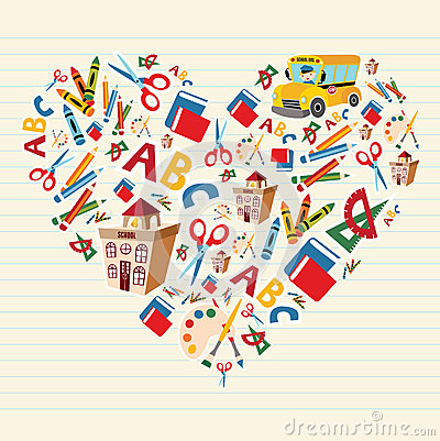 Free Back To School Love Heart Royalty Free Stock Images - 25130309