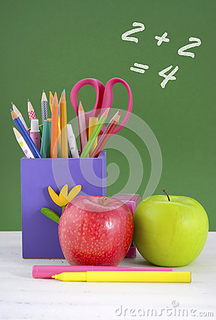 Free Back To School Pencil Box Against Green Chalkboard. Royalty Free Stock Photos - 58496868