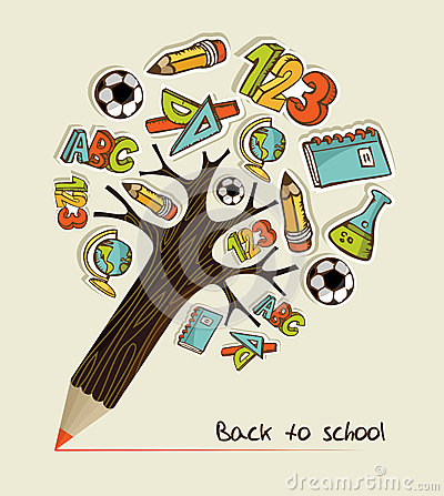 Free Back To School Pencil Tree Royalty Free Stock Photos - 26696248