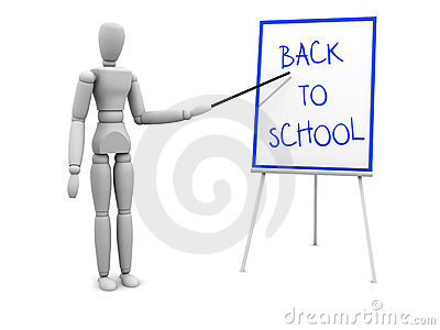 Back to school pointing to board