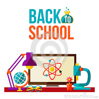 Free Back To School Poster - Computer Microscope Lamp Globe Glasses Stock Images - 75160334