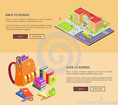 Free Back To School Posters With Building And Supplies Stock Image - 104265791