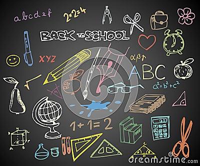 Back to school - school doodle illustrations