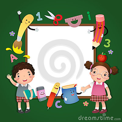 Back to school. School kids with a sign board Vector Illustration