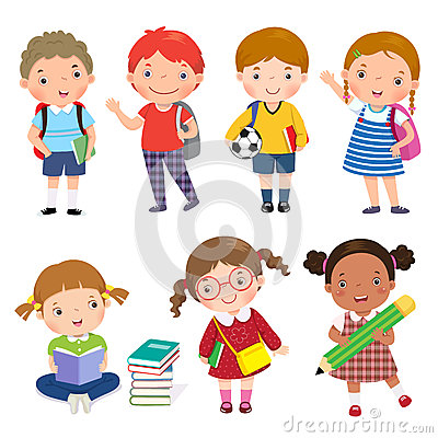 Back to school. Set of school kids in education concept. Vector Illustration