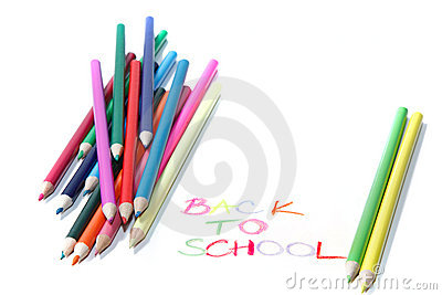 Back to school sign  with crayons