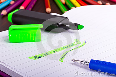 Back to school sign in notebook