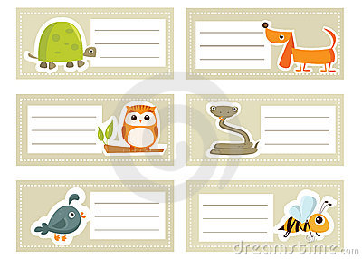Back to school stickers with  animals