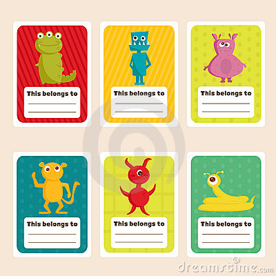 Back to school stickers with cute  monsters