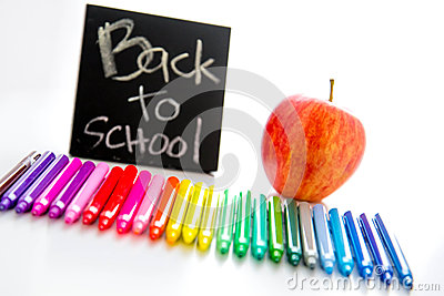 Back to school supplies and an apple for the teacher