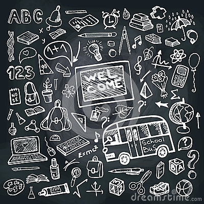 Free Back To School Supplies Sketchy Chalkboard. Square Stock Photos - 43240503
