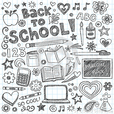 Free Back To School Supplies Sketchy Doodles Vector Set Royalty Free Stock Photos - 25619608