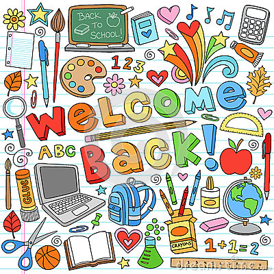 Back to School Supplies Vector Design Elements