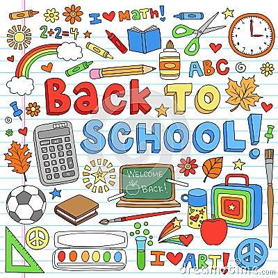 Back to School Supplies Vector Design Elements